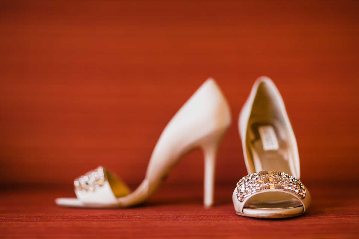 Ambers wedding shoes before her wedding at Canlis in Seattle.