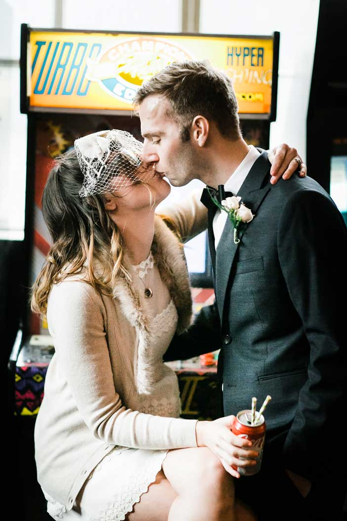 Chris and Amber played games at Add A Ball Arcade before their wedding at Canlis in Seattle.