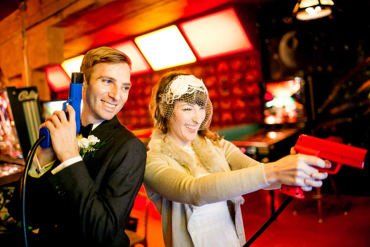 Chris stoped at the arcade Add A Ball before his wedding at Canlis in Seattle.
