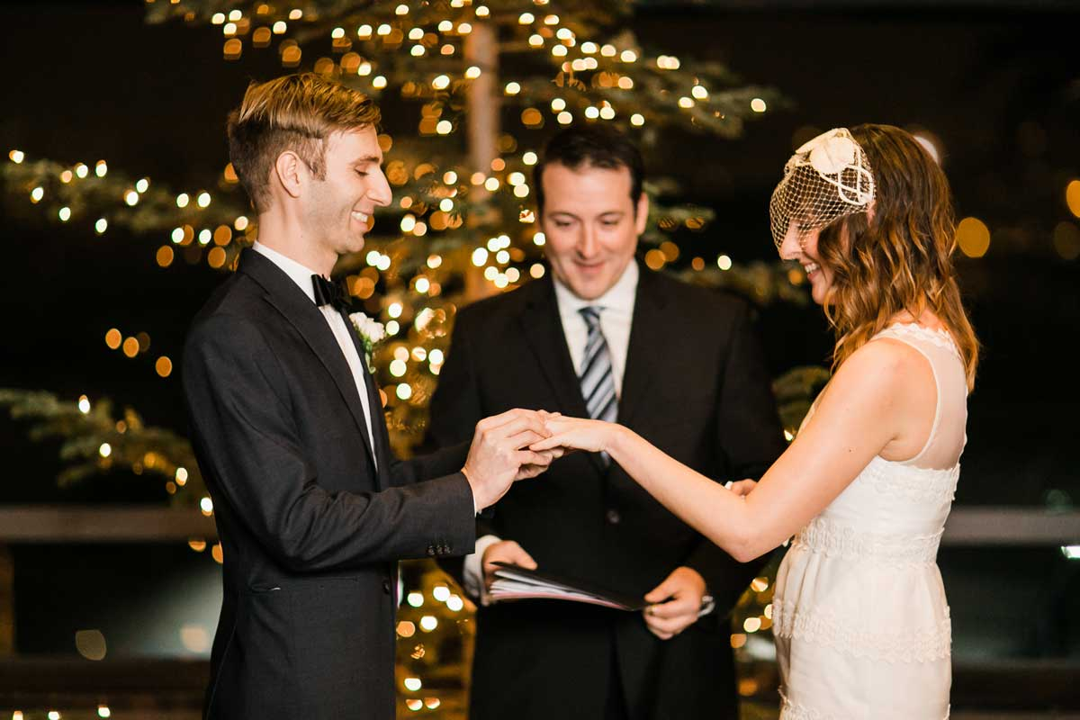 The wedding ceremony at Canlis in Seattle.