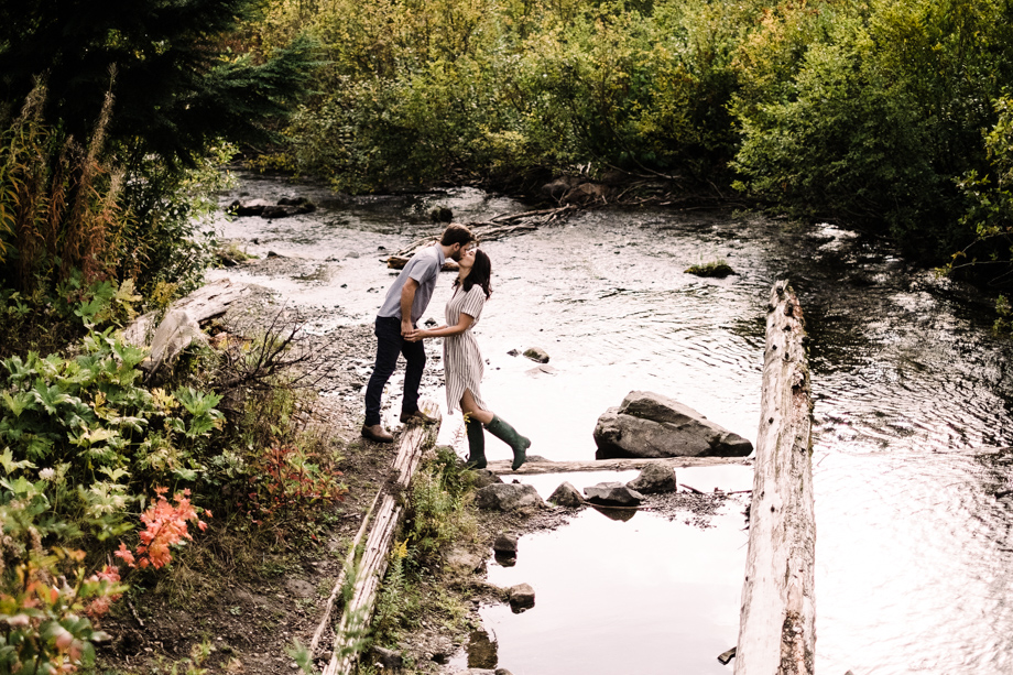 gold creek pond engagement photography