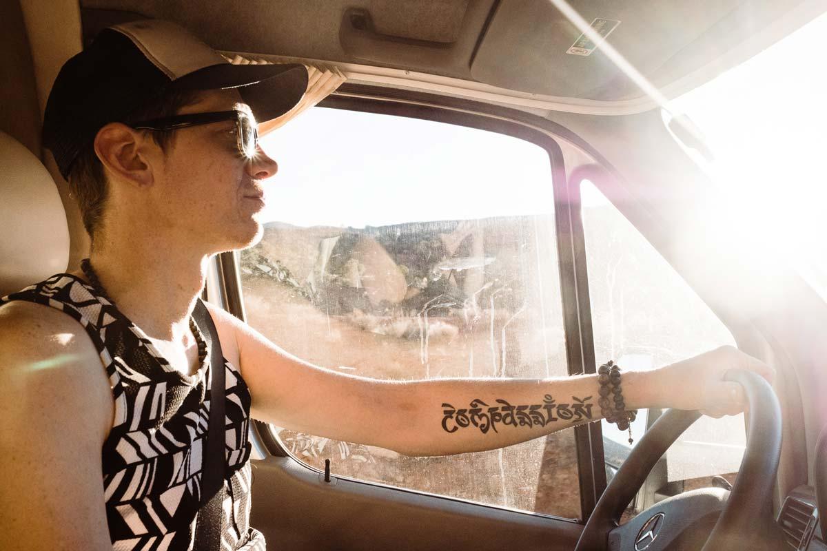 Lucas Mobley driving his Sprinter Van near Sedona Arizona.