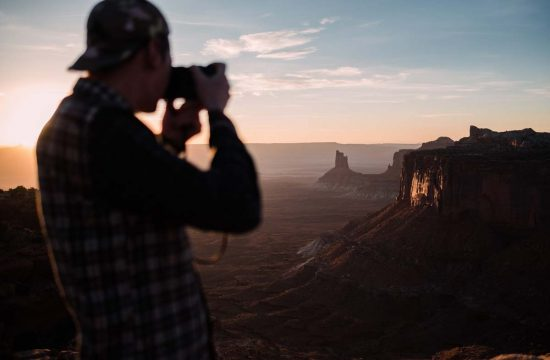 Lucas photographing sunset in Canyon Lands National Park.