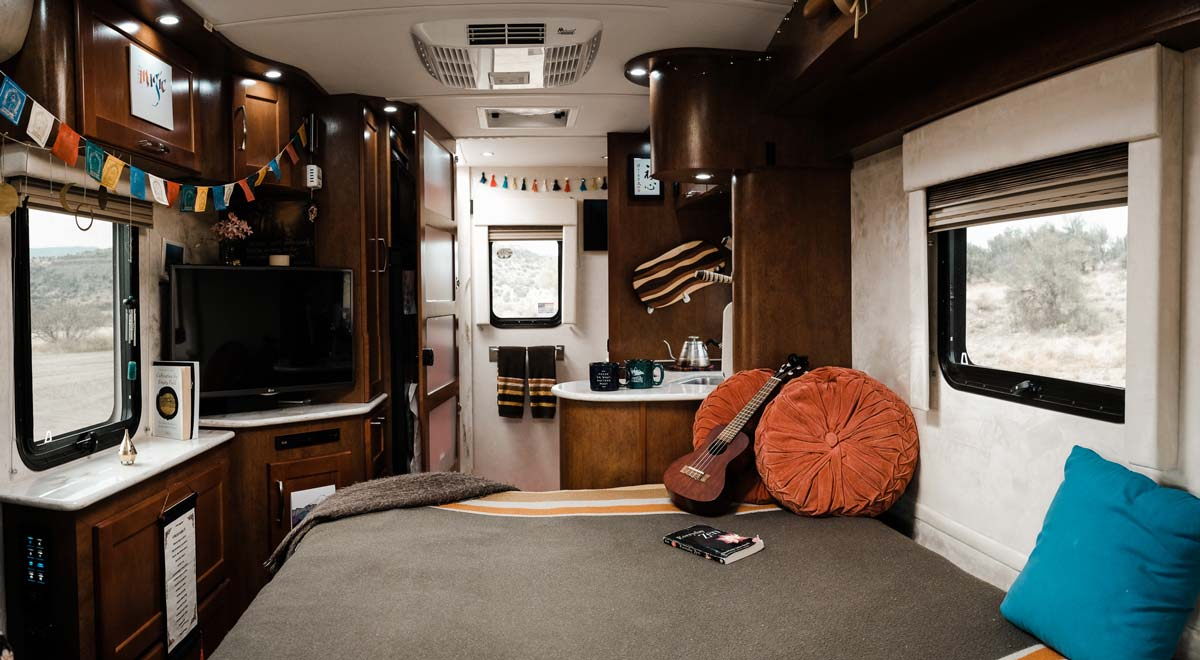 The inside of our converted Sprinter Van Rv parked in Sedona Arizona.