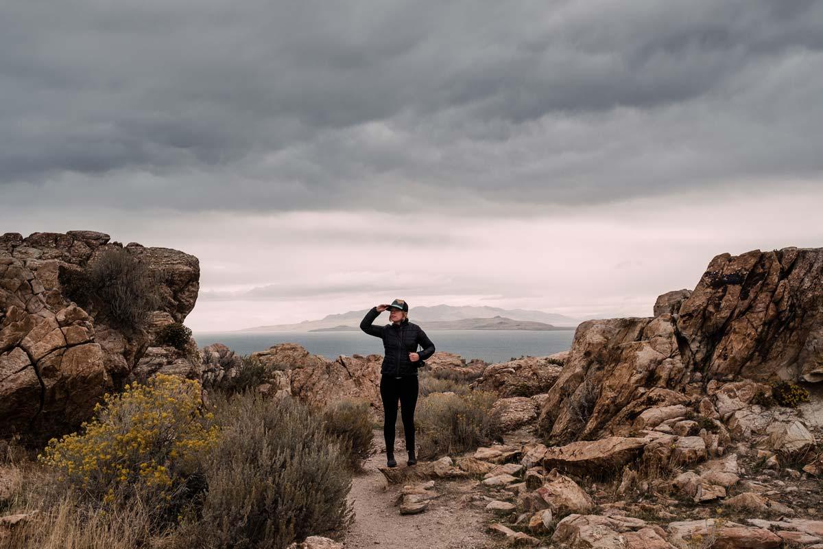 Kathryn hiking around Salt Lake in Utah/