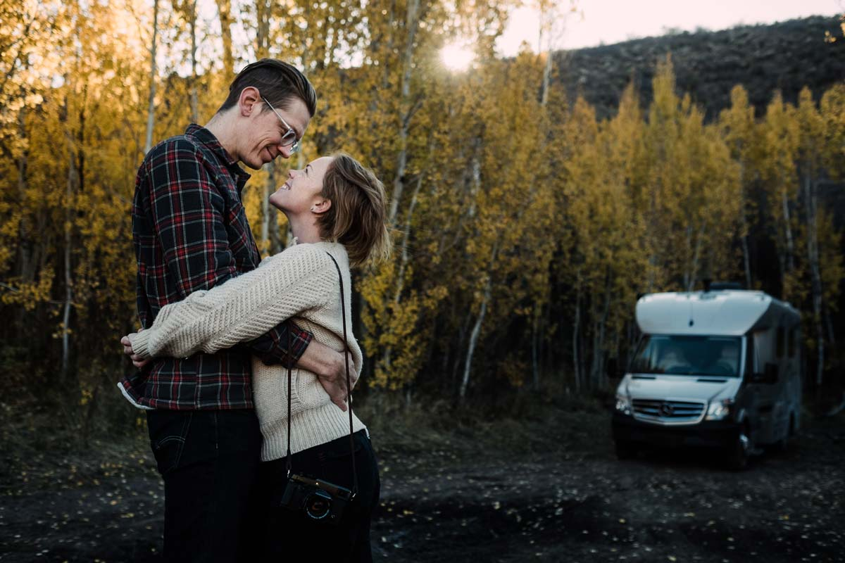 Kathryn and Lucas hugging in Idaho.