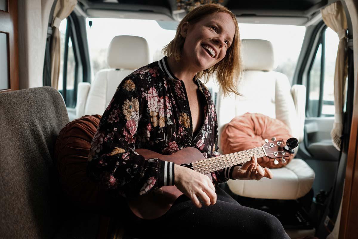Kathryn playing the ukulele.