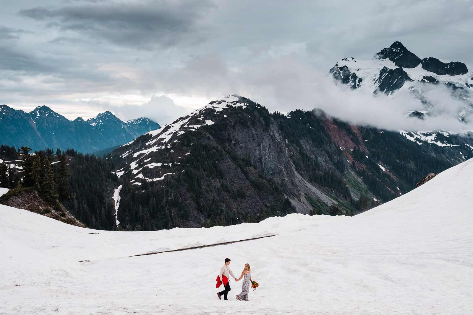 Engagement adventure photography session on Mt. baker in Washington near Seattle.