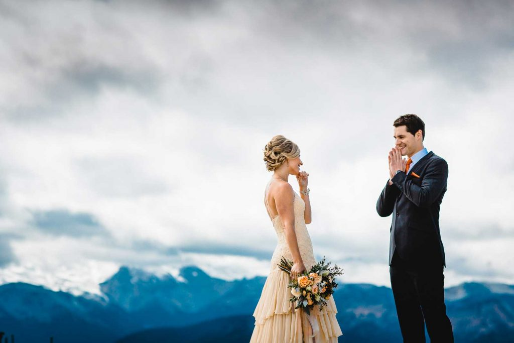 Amy and David's first look for the Chrystal Mountain Wedding in Washington.