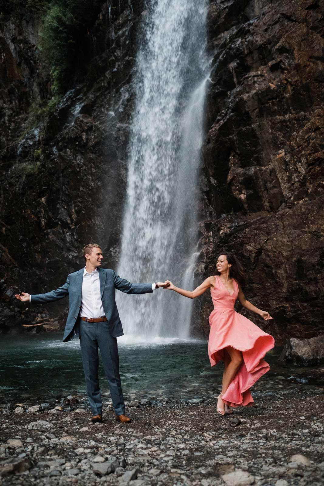 Adventure engagement photography at Franklin Falls near seattle