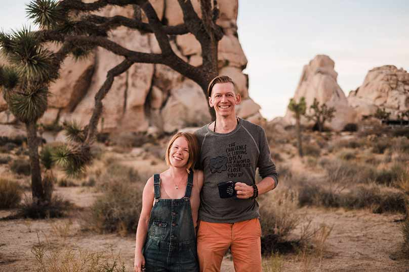 Kathryn Stevens and Seattle wedding photographer Lucas Mobley in Joshua Tree National Park.