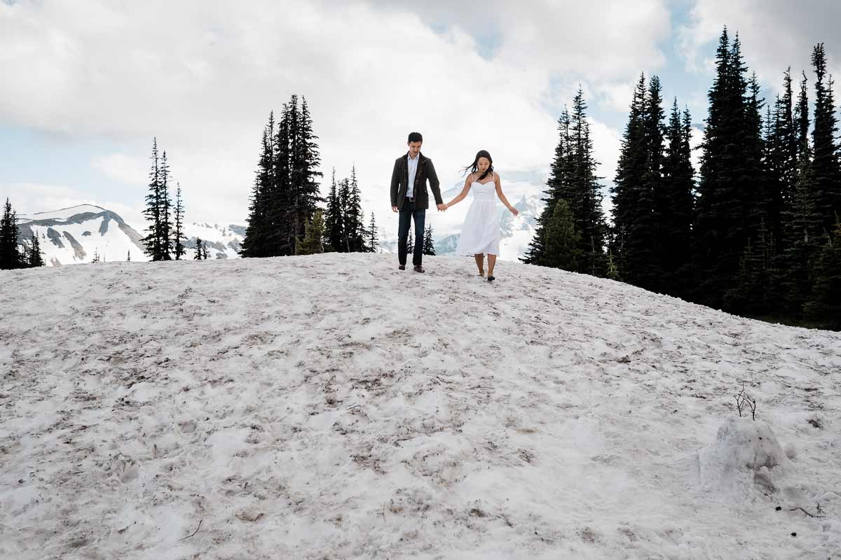 Sarah and Dan's adventure engagement photography session on Mt. Rainier.