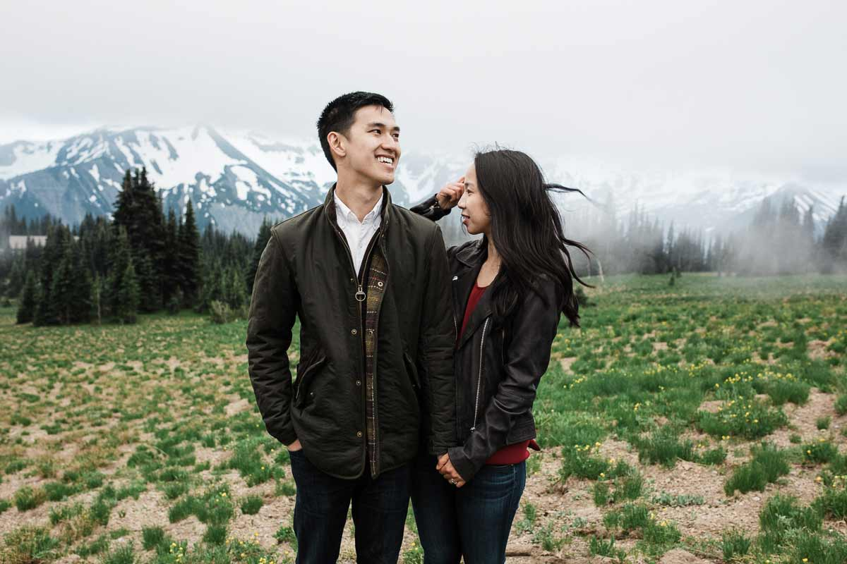 Sarah and Dan during their engagement session in Mt. Rainier National Park.