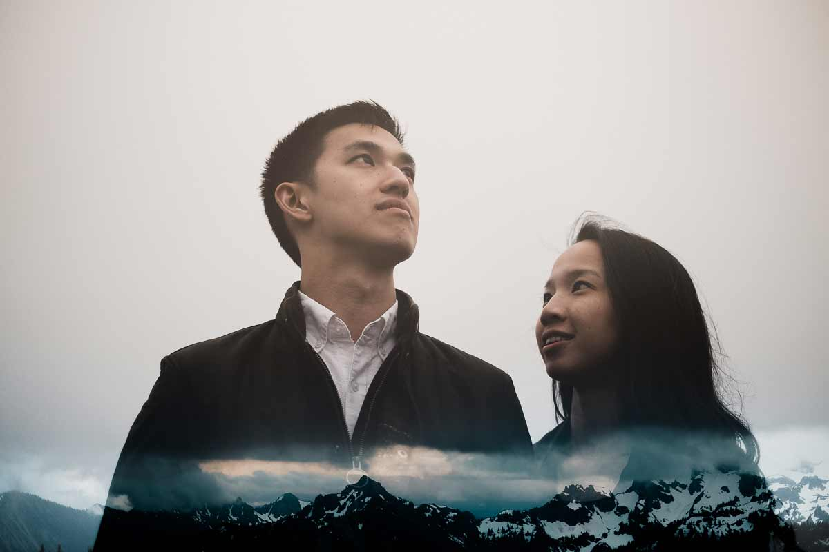 A double exposure sarah and dan during their engagement photography session.