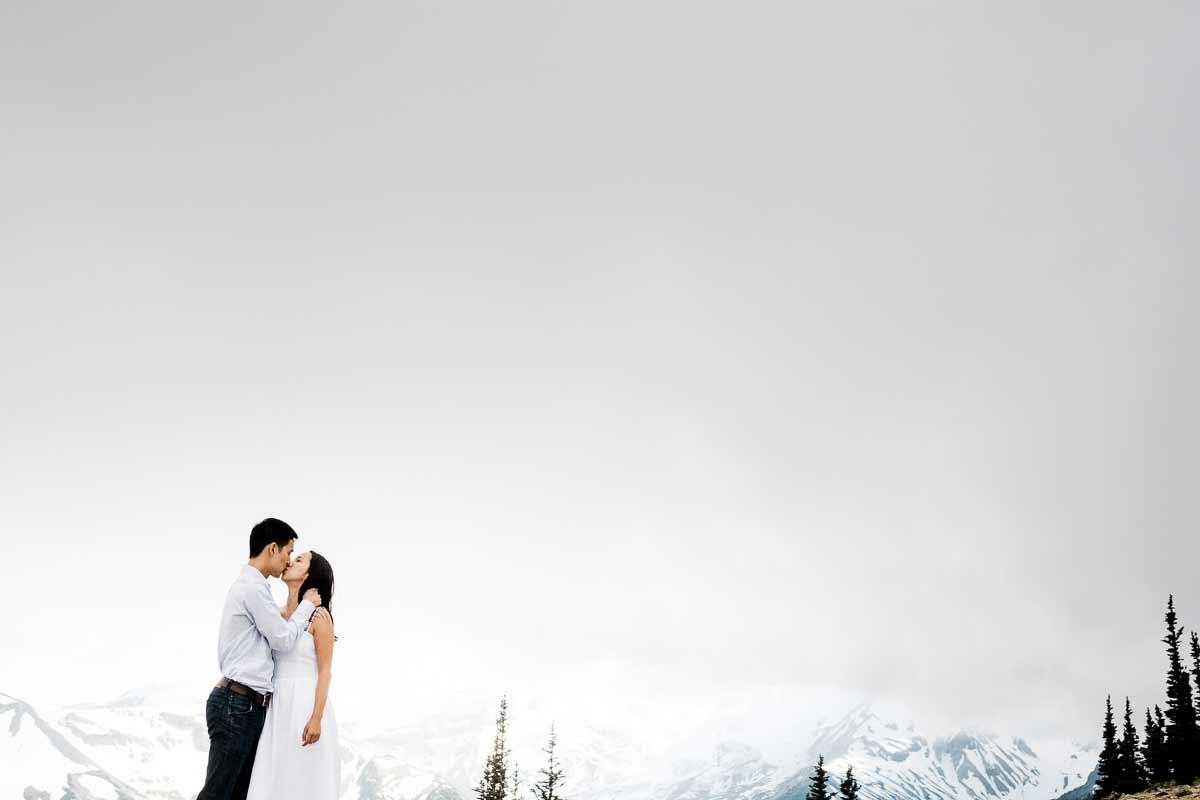 Sarah and Dan's adventure engagement photography session on Mt. Rainier.