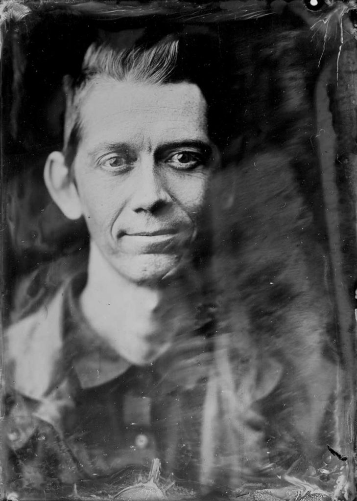 lucas with his wet plate collodion tintype camera