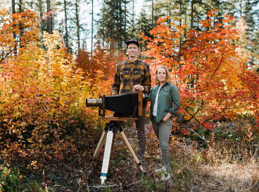 wet plate collodion photographer Lucas Mobley and Kathryn Stevens at Lake Wenatchee.