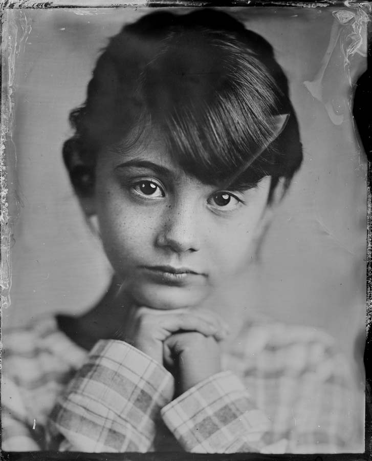 A 4x5 wet plate collodion image of Lily in Seattle.