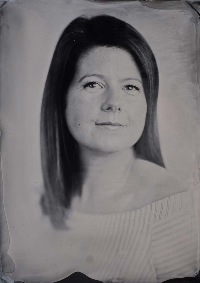 Wedding planner Megan Clark on a 5x7 wet plate collodion plate.