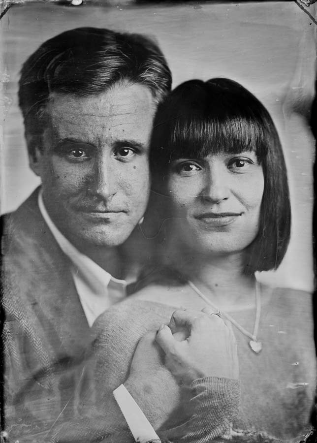 An original wet plate collodion image of Peter and his wife in Seattle.
