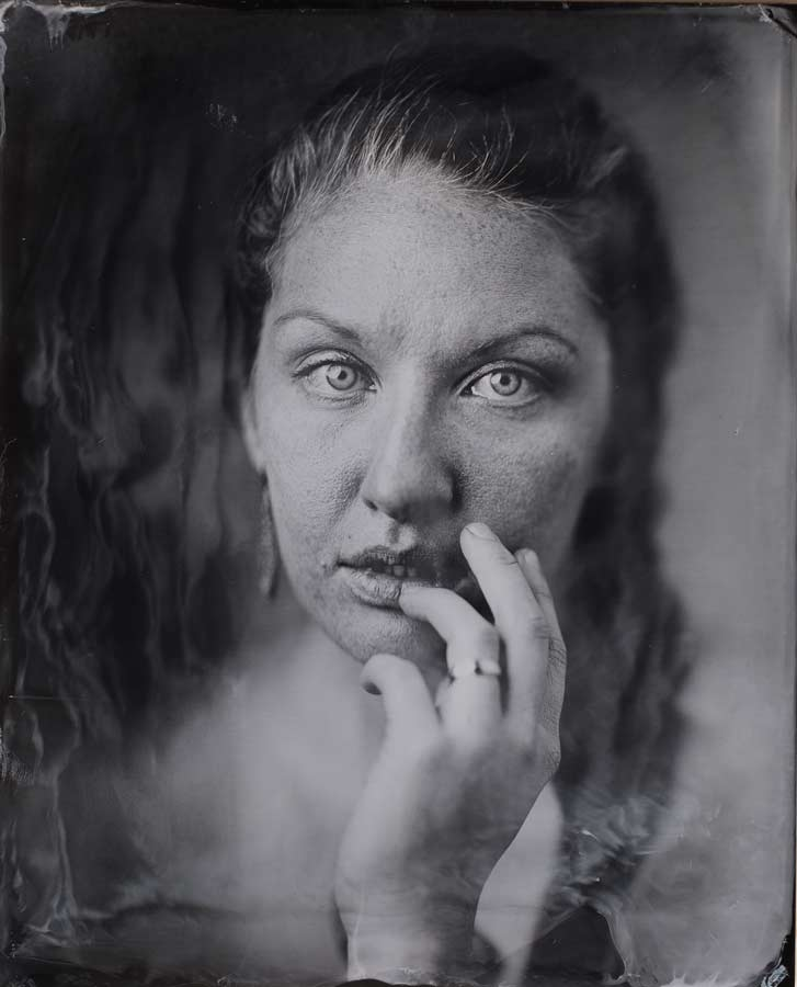 An original wet plate collodion image of Lindsey at Sunroom Analog in Portland.