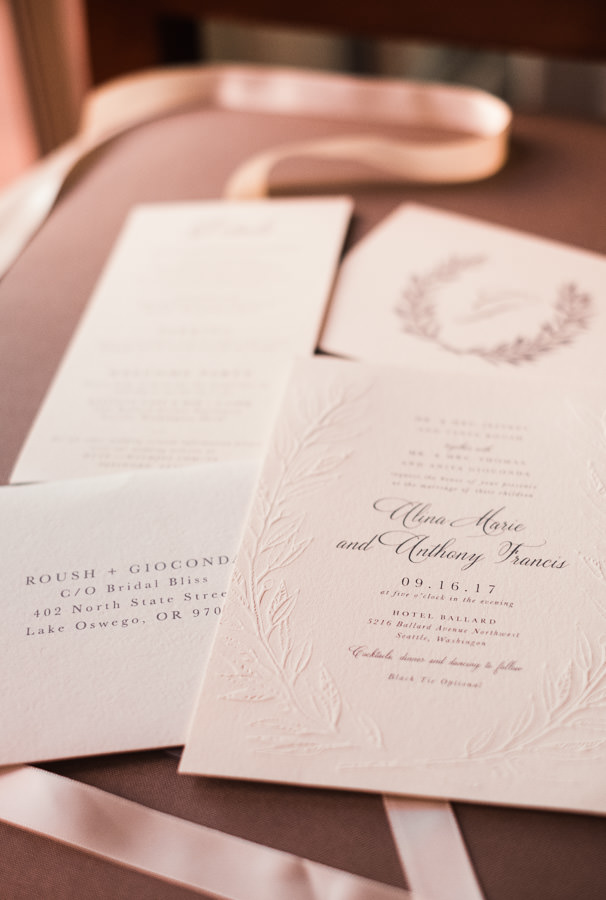 Wedding invitations for a Seattle wedding at Stoneburner.