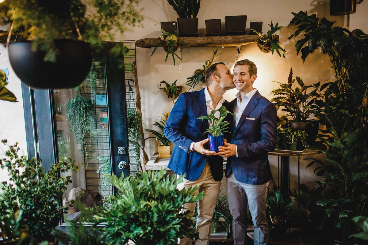 A gay couple during their Hotel Ballard wedding.