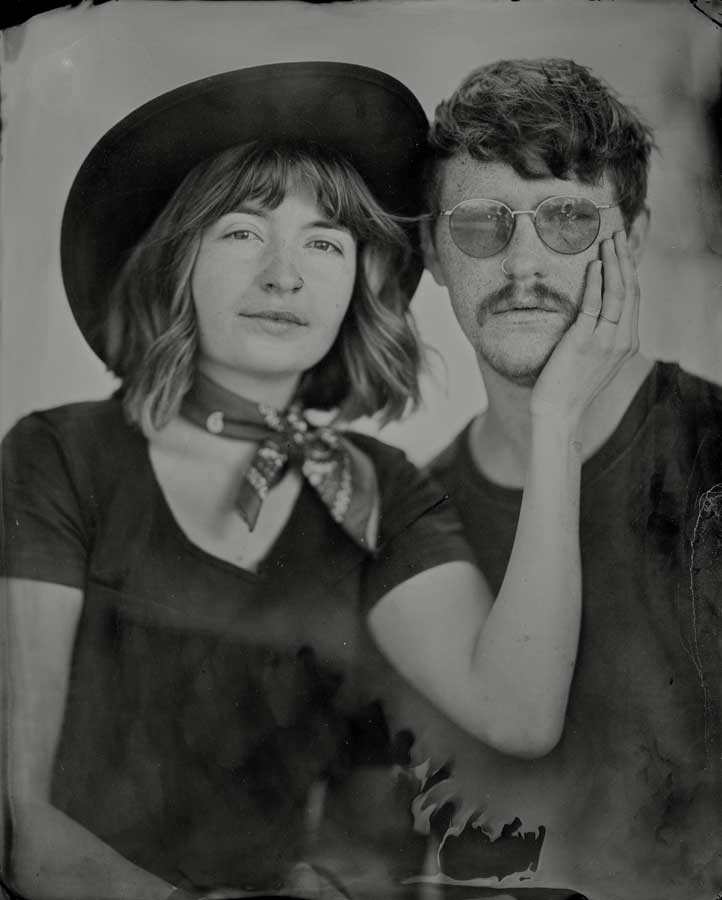 An 8x10 tintype of Evan and Tedi.