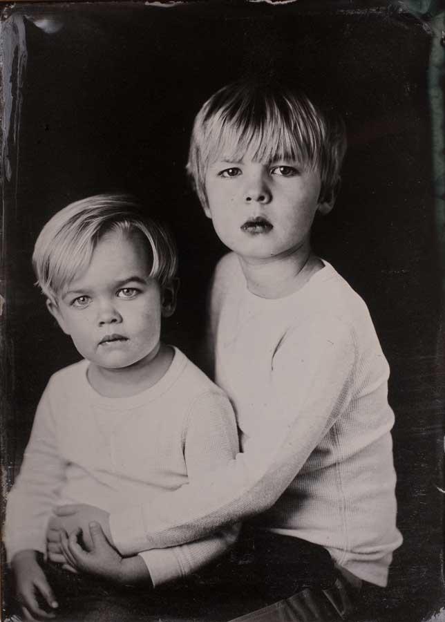 Tintype photo of kids