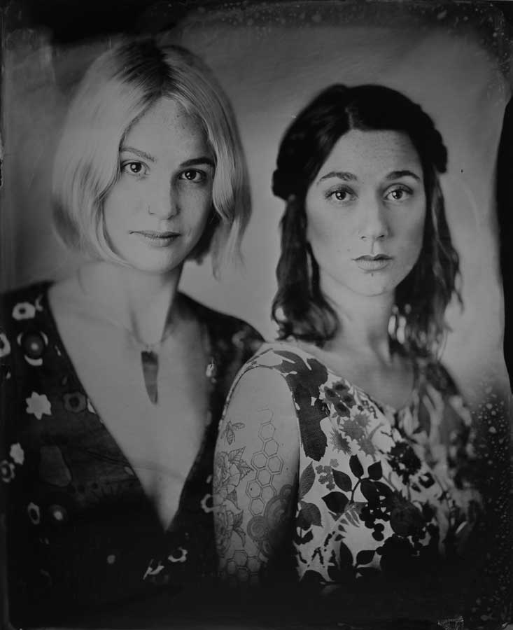 Tintype photo of Mesa and Alina in Portland